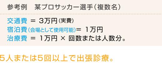 参考例 某プロサッカー選手(複数名) 交通費 = 3万円 宿泊費(会場として使用可能)= 1万円  治療費 = 1万円 × 回数または人数分。